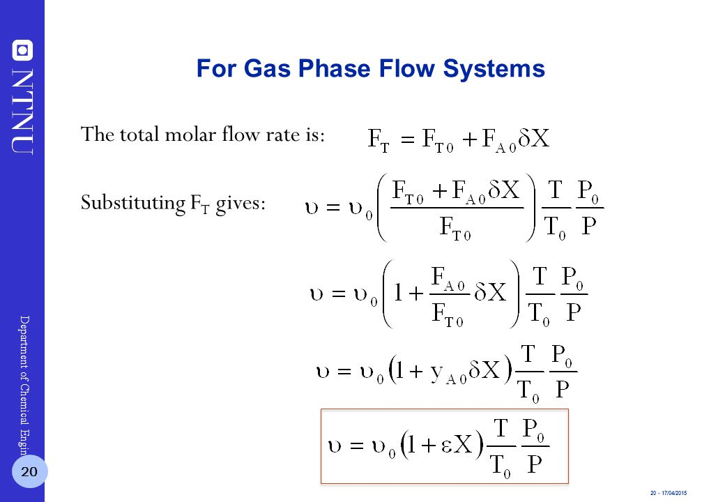 20 - 17/04/2015 Department of Chemical Engineering The total molar flow rate is: For Gas Phase Flow Systems Substituting F T gives: 20