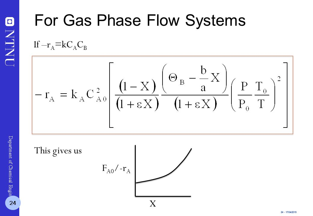 24 - 17/04/2015 Department of Chemical Engineering If –r A =kC A C B This gives us F A0 /-r A X 24 For Gas Phase Flow Systems