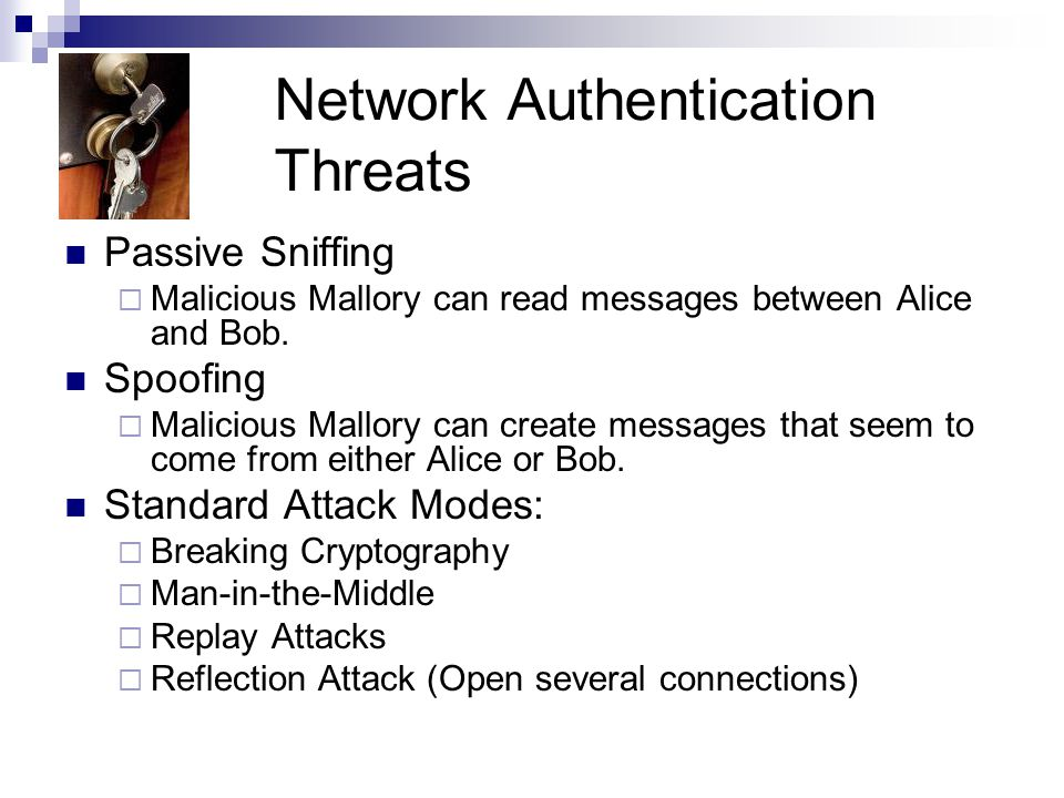Network Authentication Threats Passive Sniffing  Malicious Mallory can read messages between Alice and Bob. Spoofing  Malicious Mallory can create m