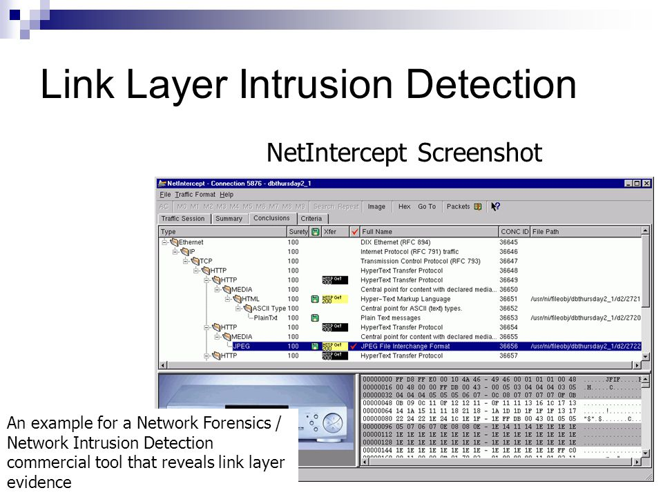 Link Layer Intrusion Detection NetIntercept Screenshot An example for a Network Forensics / Network Intrusion Detection commercial tool that reveals l