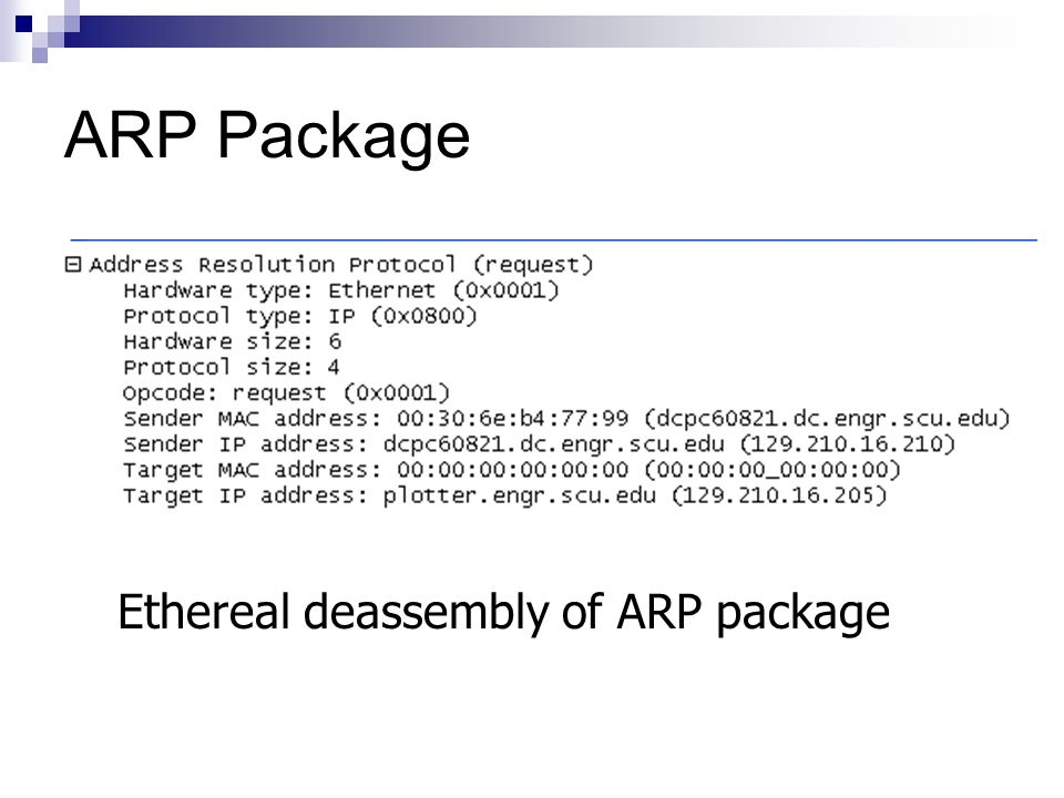 ARP Package Ethereal deassembly of ARP package