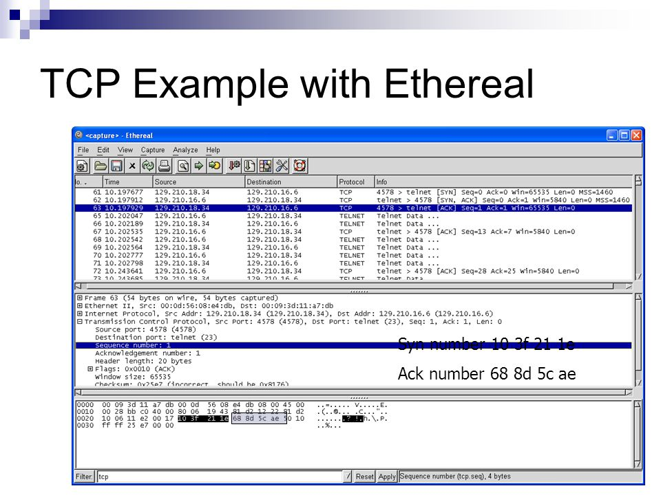 TCP Example with Ethereal Syn number 10 3f 21 1e Ack number 68 8d 5c ae