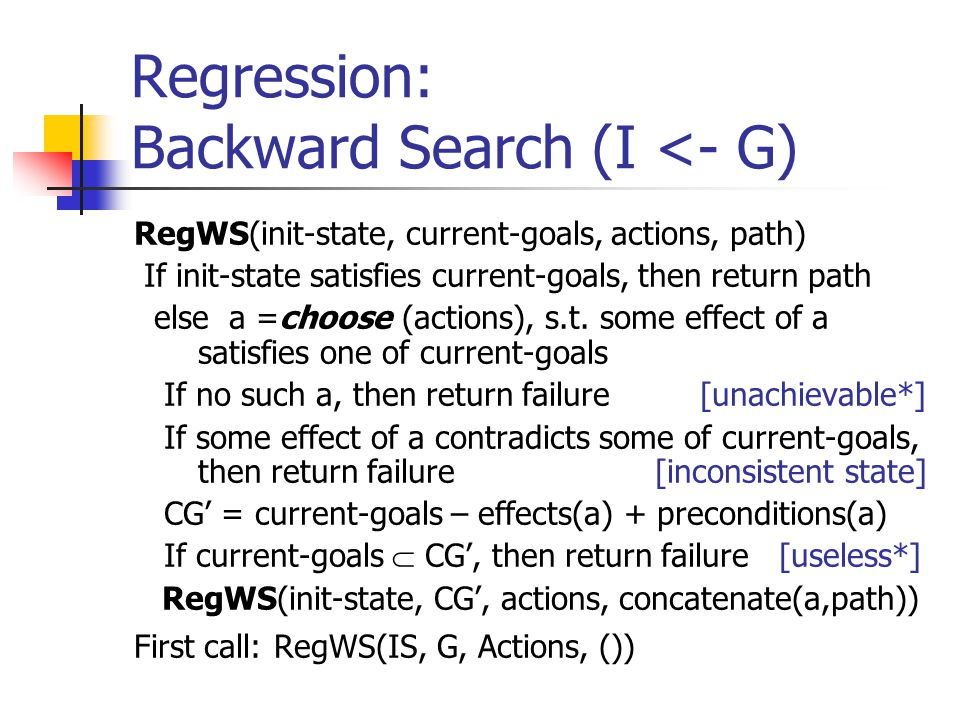 Regression: Backward Search (I <- G) RegWS(init-state, current-goals, actions, path) If init-state satisfies current-goals, then return path else a =choose (actions), s.t.