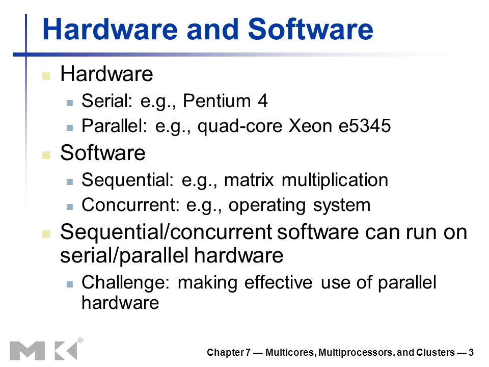 Chapter 7 — Multicores, Multiprocessors, and Clusters — 4 FIGURE 7.1 Hardware/software categorization and examples of application perspective on concurrency versus hardware perspective on parallelism.