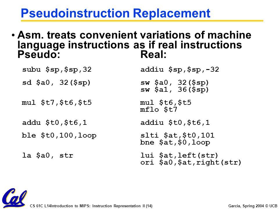 CS 61C L14Introduction to MIPS: Instruction Representation II (14) Garcia, Spring 2004 © UCB Pseudoinstruction Replacement Asm. treats convenient vari