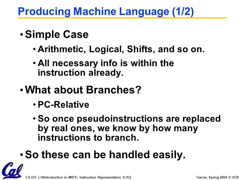 CS 61C L14Introduction to MIPS: Instruction Representation II (15) Garcia, Spring 2004 © UCB Producing Machine Language (1/2) Simple Case Arithmetic,