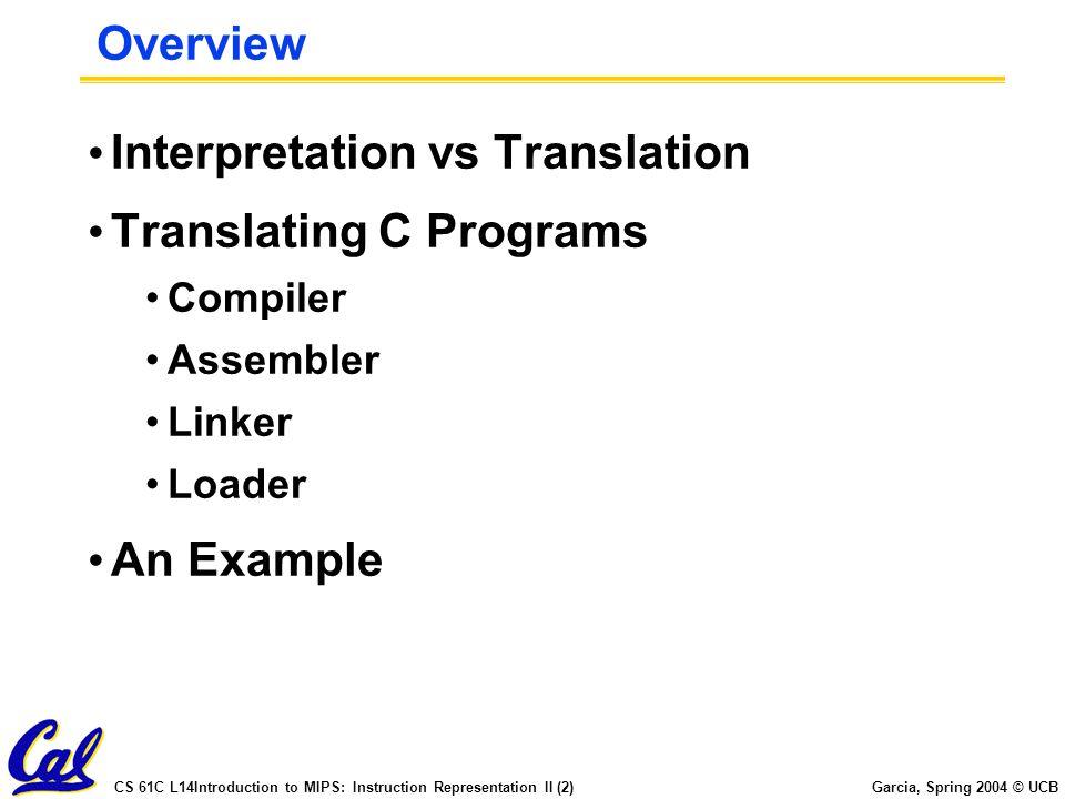 CS 61C L14Introduction to MIPS: Instruction Representation II (2) Garcia, Spring 2004 © UCB Overview Interpretation vs Translation Translating C Progr