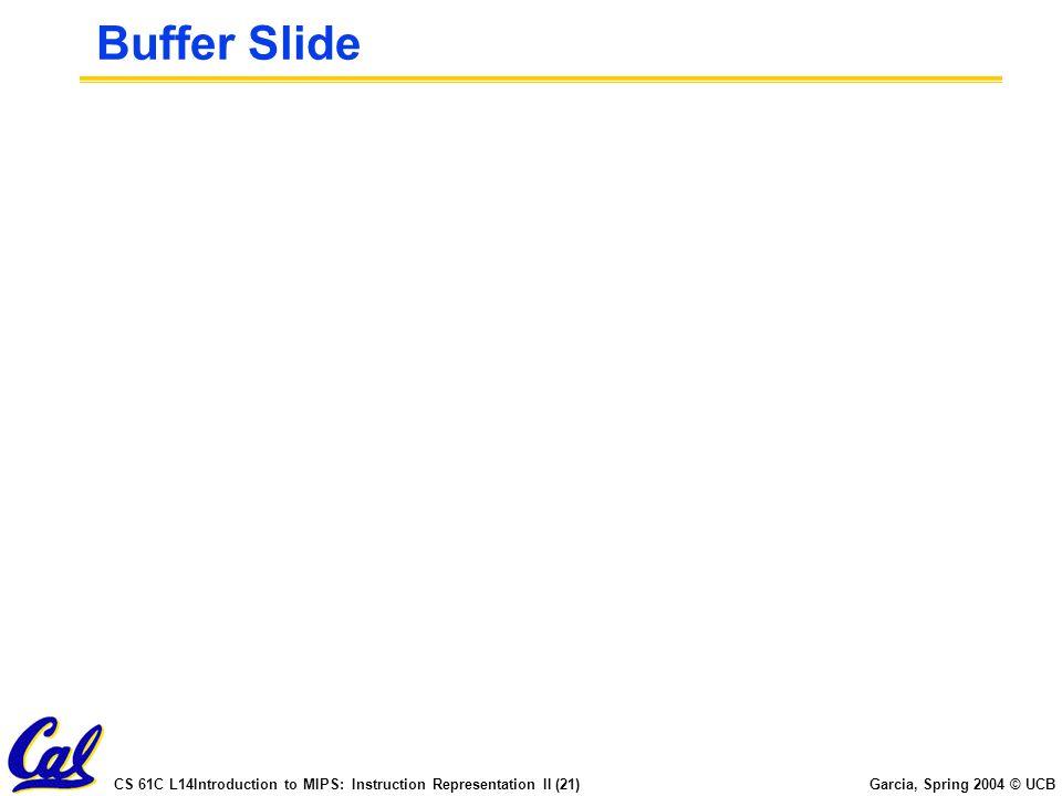 CS 61C L14Introduction to MIPS: Instruction Representation II (21) Garcia, Spring 2004 © UCB Buffer Slide
