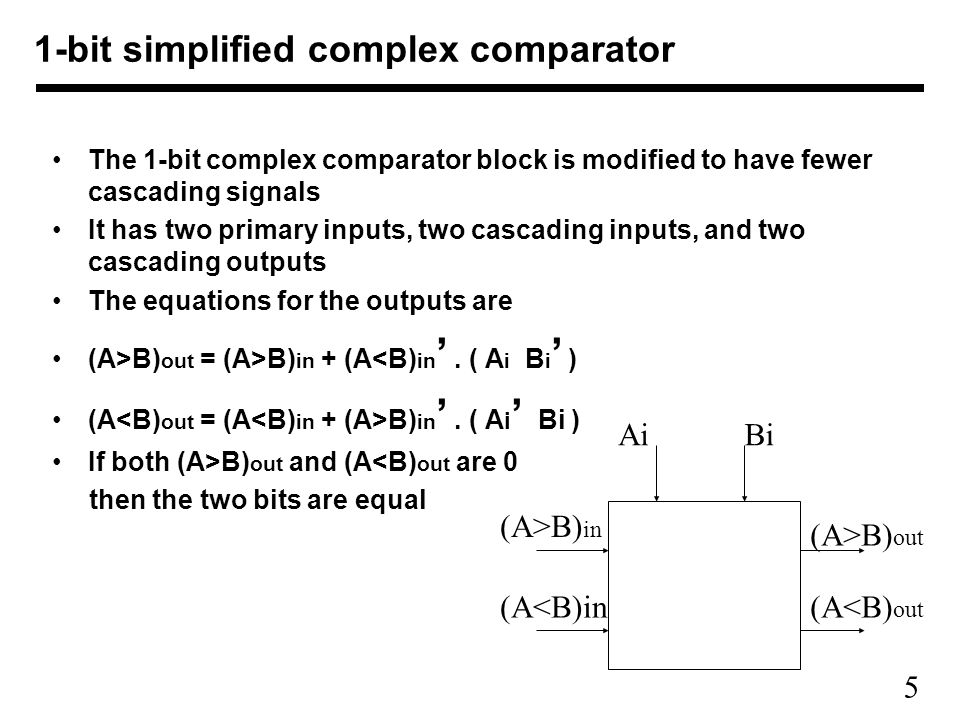 6 The 1-bit maximizer block is similar to the simplified complex comparator It has two primary inputs, one primary output, two cascading inputs, and two cascading outputs The primary output M is 1 if depending on which input is greater The equations for the outputs are –(A>B) out = (A>B) in + (A<B) in '.