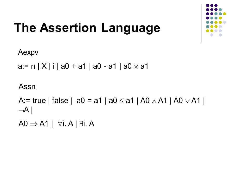 The Assertion Language Aexpv a:= n | X | i | a0 + a1 | a0 - a1 | a0  a1 Assn A:= true | false | a0 = a1 | a0  a1 | A0  A1 | A0  A1 |  A | A0  A1 |  i.