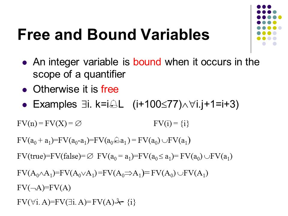 Free and Bound Variables An integer variable is bound when it occurs in the scope of a quantifier Otherwise it is free Examples  i.