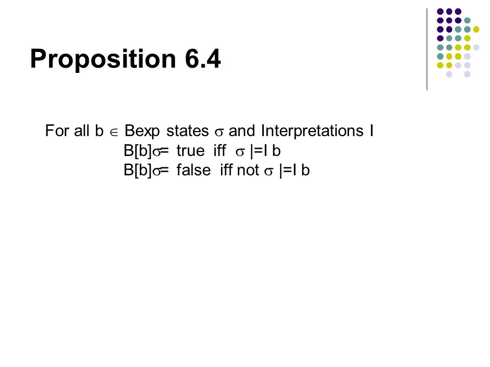 Proposition 6.4 For all b  Bexp states  and Interpretations I B[b]  = true iff  |=I b B[b]  = false iff not  |=I b