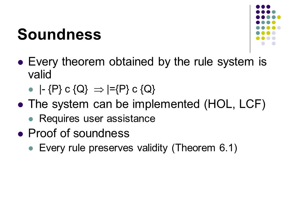Soundness Every theorem obtained by the rule system is valid |- {P} c {Q}  |={P} c {Q} The system can be implemented (HOL, LCF) Requires user assistance Proof of soundness Every rule preserves validity (Theorem 6.1)