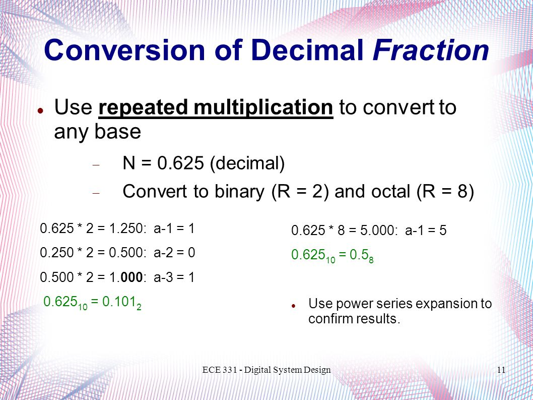 ECE 331 - Digital System Design11 Conversion of Decimal Fraction Use repeated multiplication to convert to any base  N = 0.625 (decimal)  Convert to