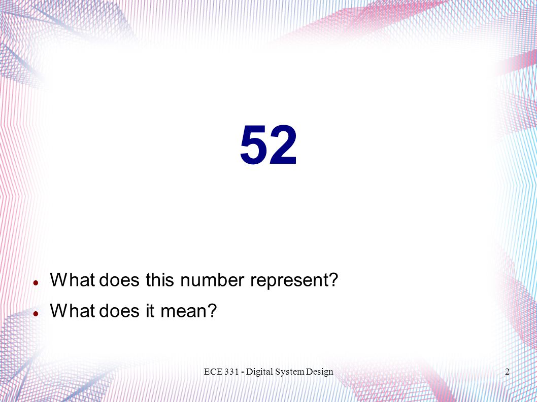 ECE 331 - Digital System Design13 Number System Conversion Conversion of a mixed decimal number is implemented as follows:  Convert the integer part of the number using repeated division.
