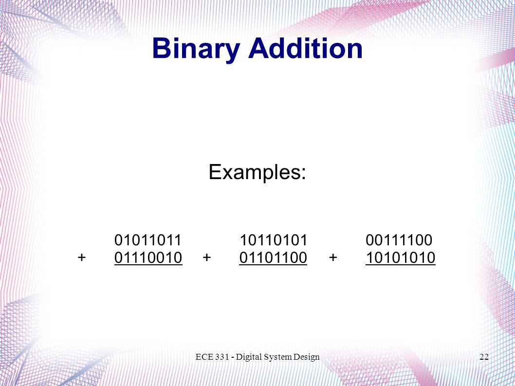 ECE 331 - Digital System Design22 Binary Addition Examples: 01011011 +01110010 00111100 +10101010 10110101 +01101100