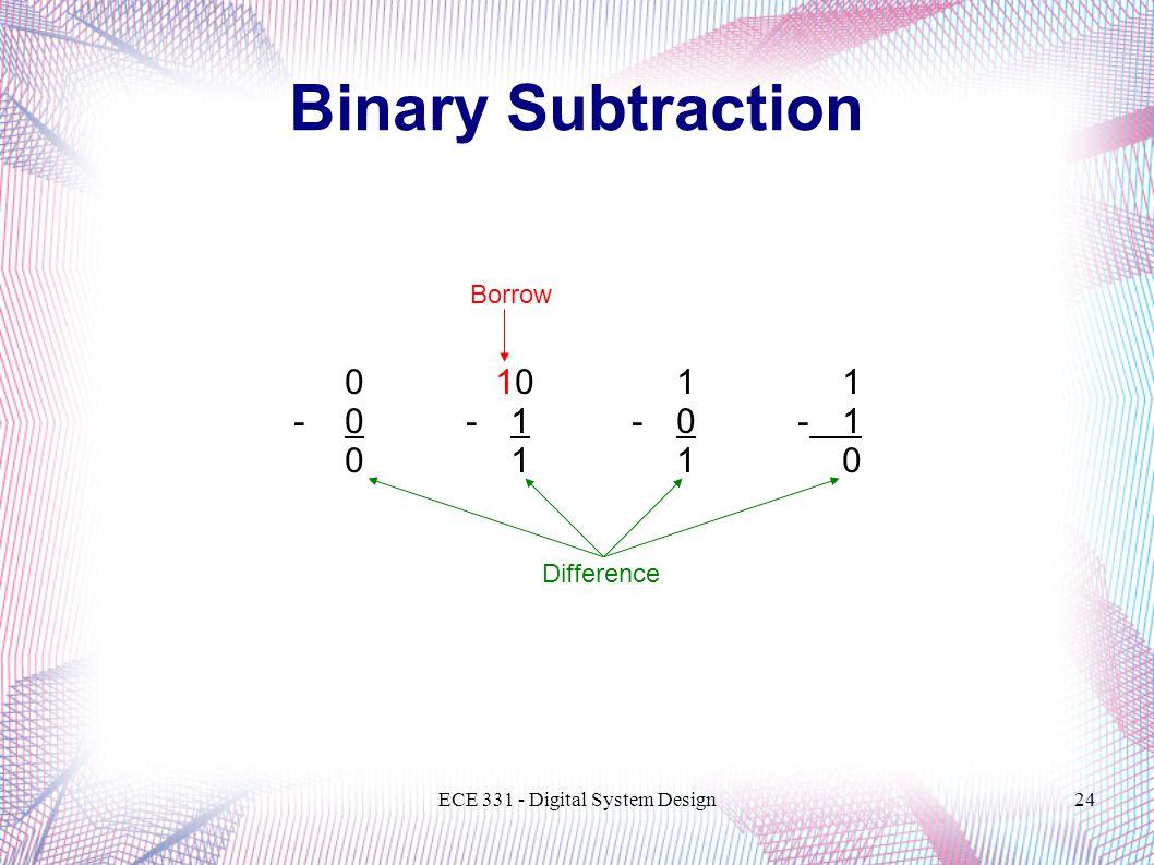 ECE 331 - Digital System Design24 Binary Subtraction 0 10 11 - 0 -1 01 1 0 Difference Borrow