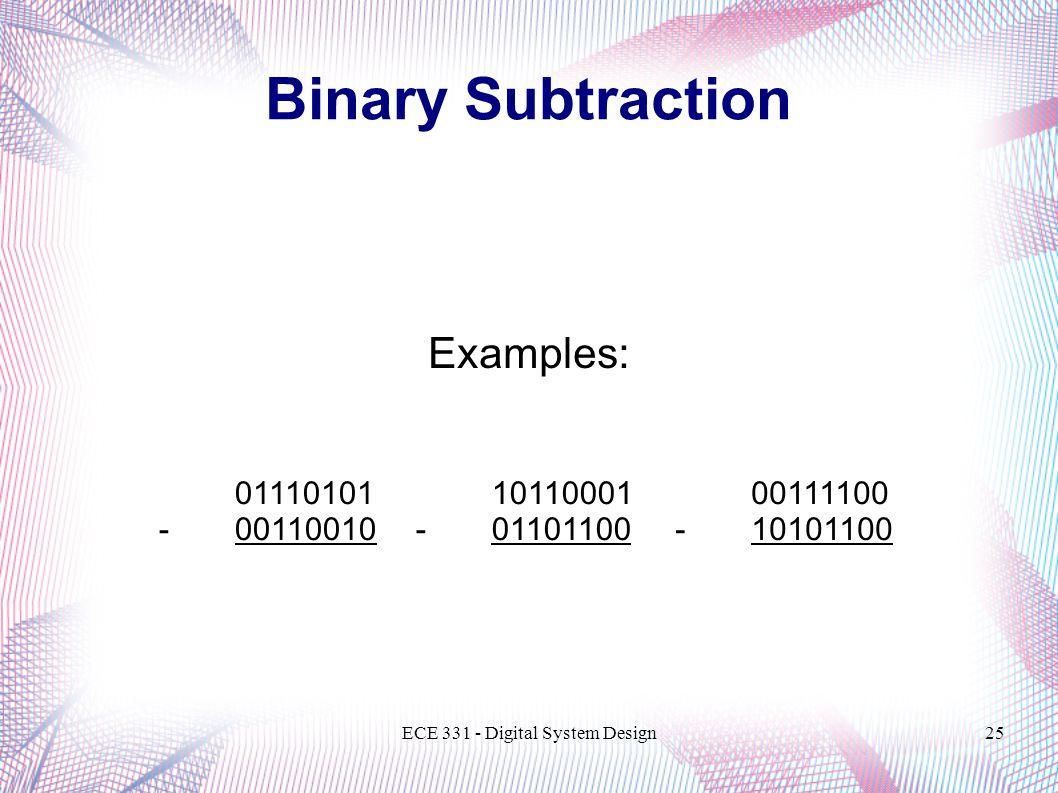 ECE 331 - Digital System Design25 Binary Subtraction Examples: 01110101 -00110010 00111100 -10101100 10110001 -01101100