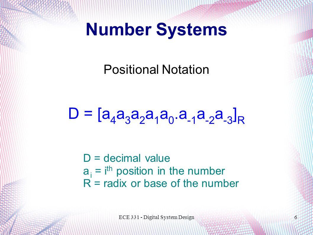 ECE 331 - Digital System Design6 Number Systems Positional Notation D = [a 4 a 3 a 2 a 1 a 0.a -1 a -2 a -3 ] R D = decimal value a i = i th position