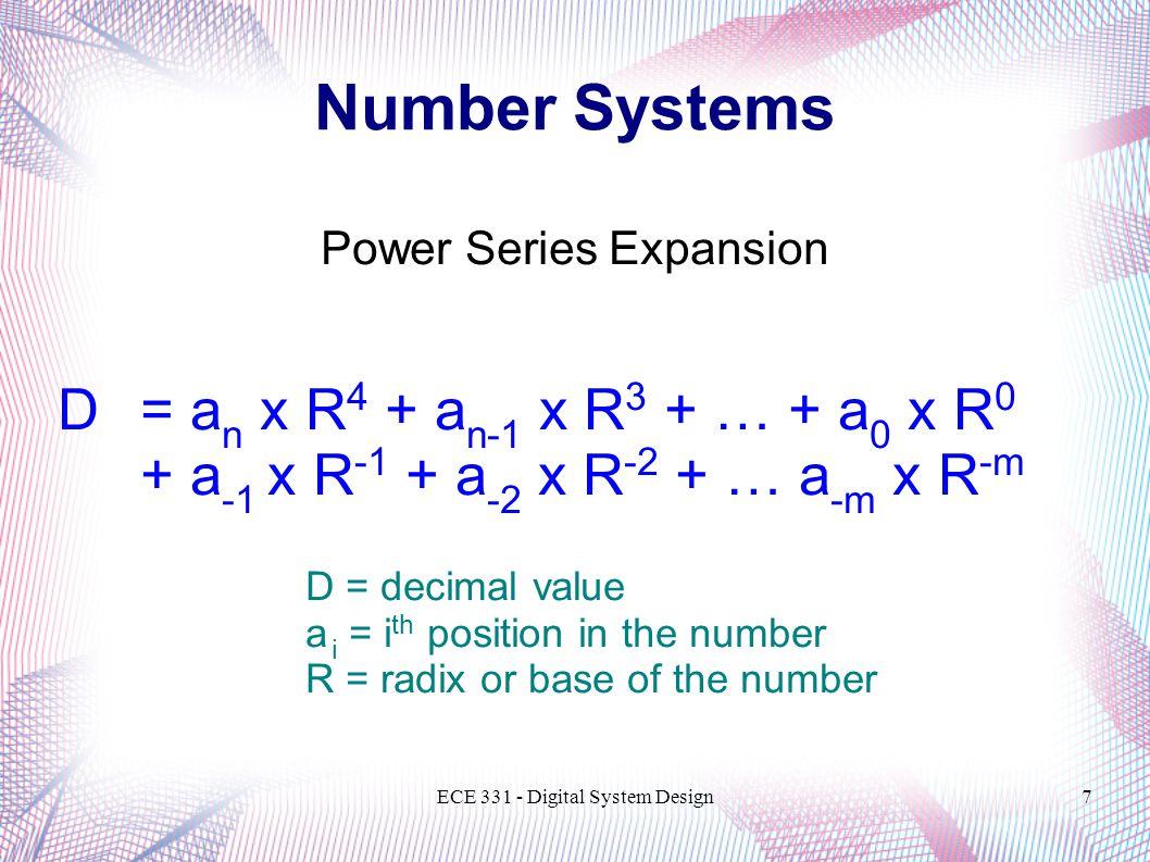 ECE 331 - Digital System Design18 Number Systems Base:1028 16