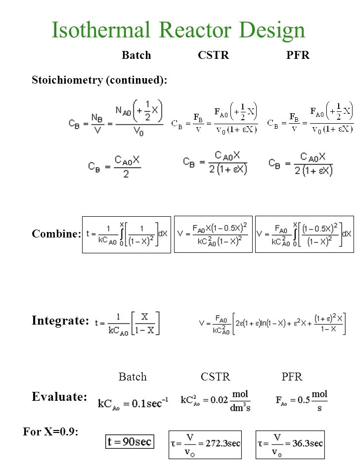 Isothermal Reactor Design Stoichiometry (continued): Combine: Integrate: Evaluate: Batch CSTRPFR BatchCSTRPFR For X=0.9: