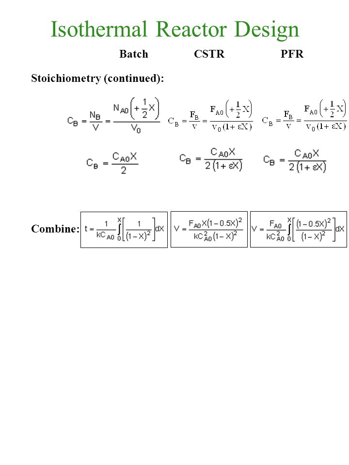 Isothermal Reactor Design Stoichiometry (continued): Combine: Batch CSTRPFR