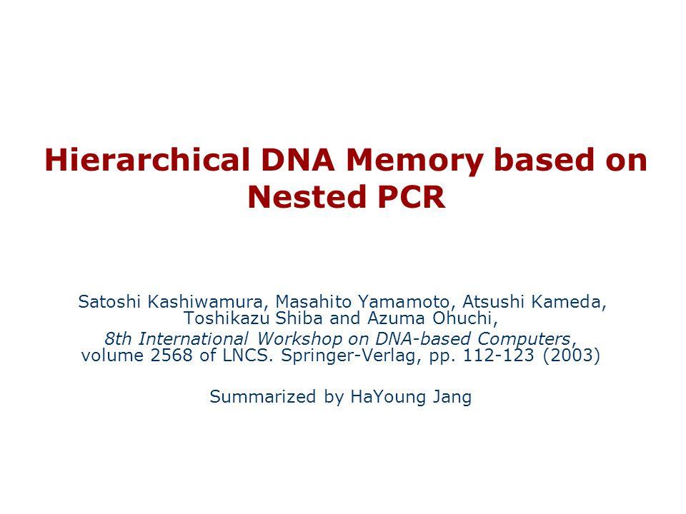 Hierarchical DNA Memory based on Nested PCR Satoshi Kashiwamura, Masahito Yamamoto, Atsushi Kameda, Toshikazu Shiba and Azuma Ohuchi, 8th International Workshop on DNA-based Computers, volume 2568 of LNCS.