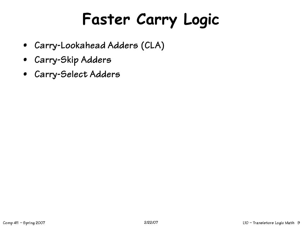 L10 – Transistors Logic Math 9 Comp 411 – Spring 2007 2/22/07 Faster Carry Logic Carry-Lookahead Adders (CLA) Carry-Skip Adders Carry-Select Adders