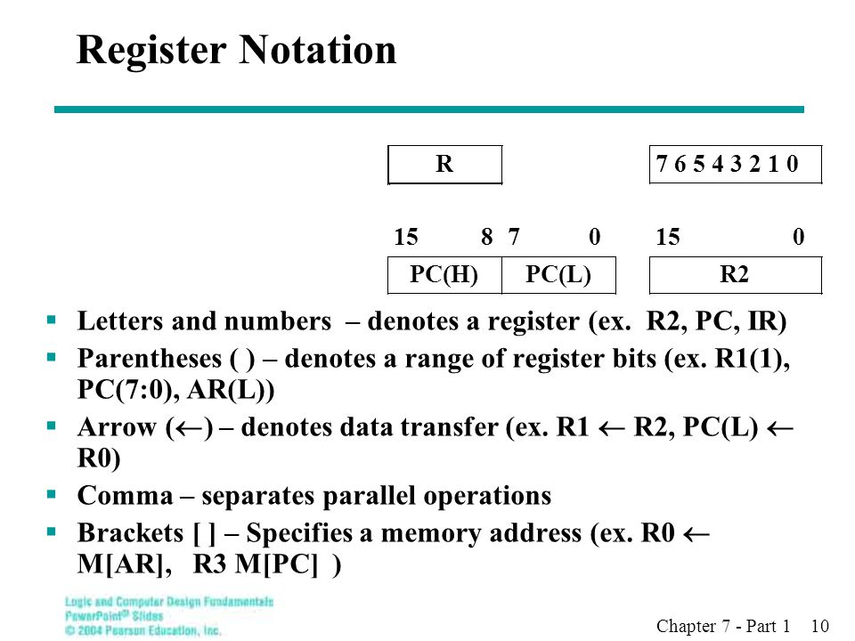 Chapter 7 - Part 1 10 Register Notation  Letters and numbers – denotes a register (ex.