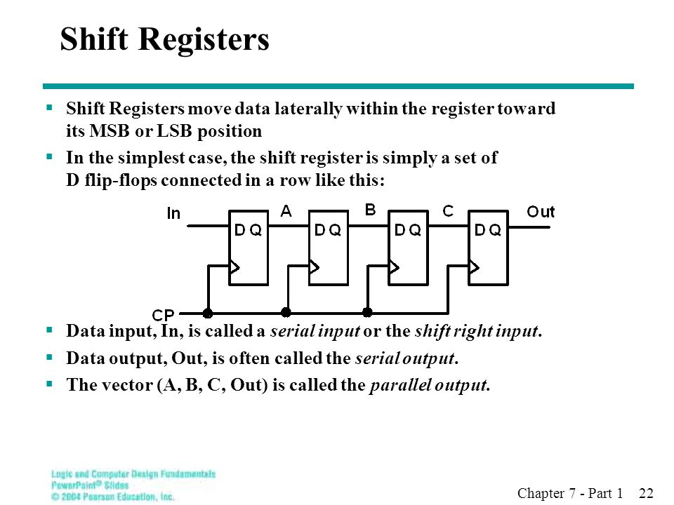 Chapter 7 - Part 1 22 Shift Registers  Shift Registers move data laterally within the register toward its MSB or LSB position  In the simplest case, the shift register is simply a set of D flip-flops connected in a row like this:  Data input, In, is called a serial input or the shift right input.