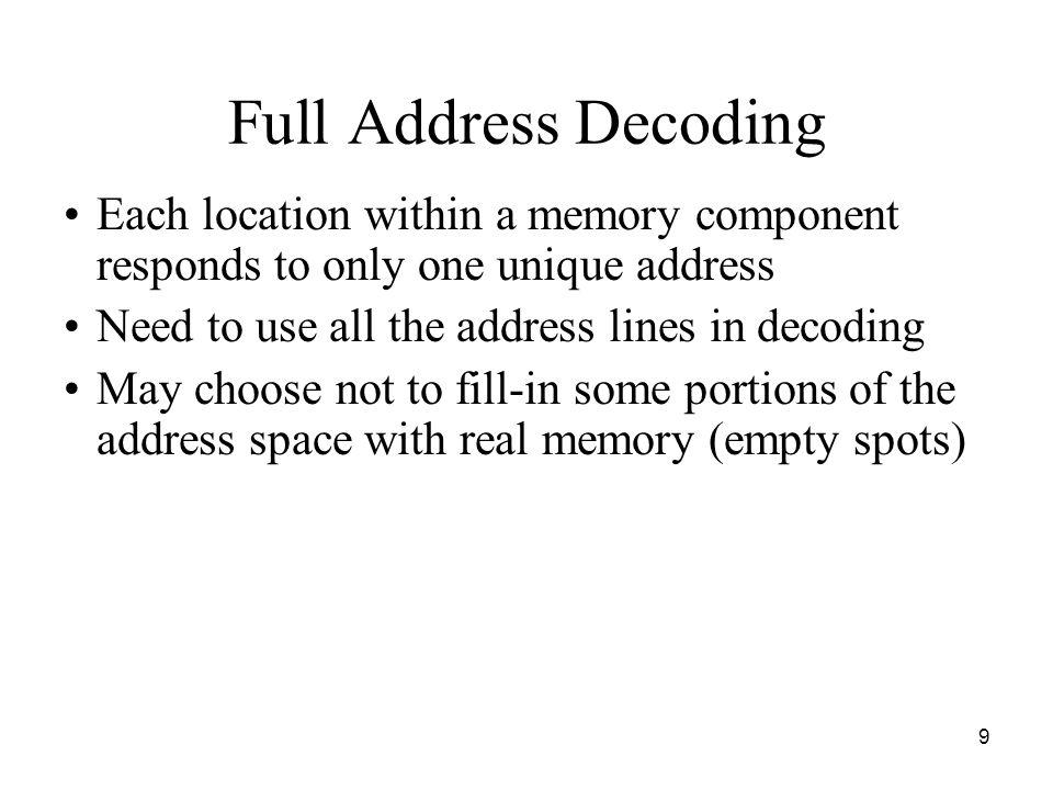 10 Addressing Memory Components CPU M0 4K x 8 M1 4K x 8 D 0 -D 7 W/R# A 23 A 12 A 00 A 01 A 11...