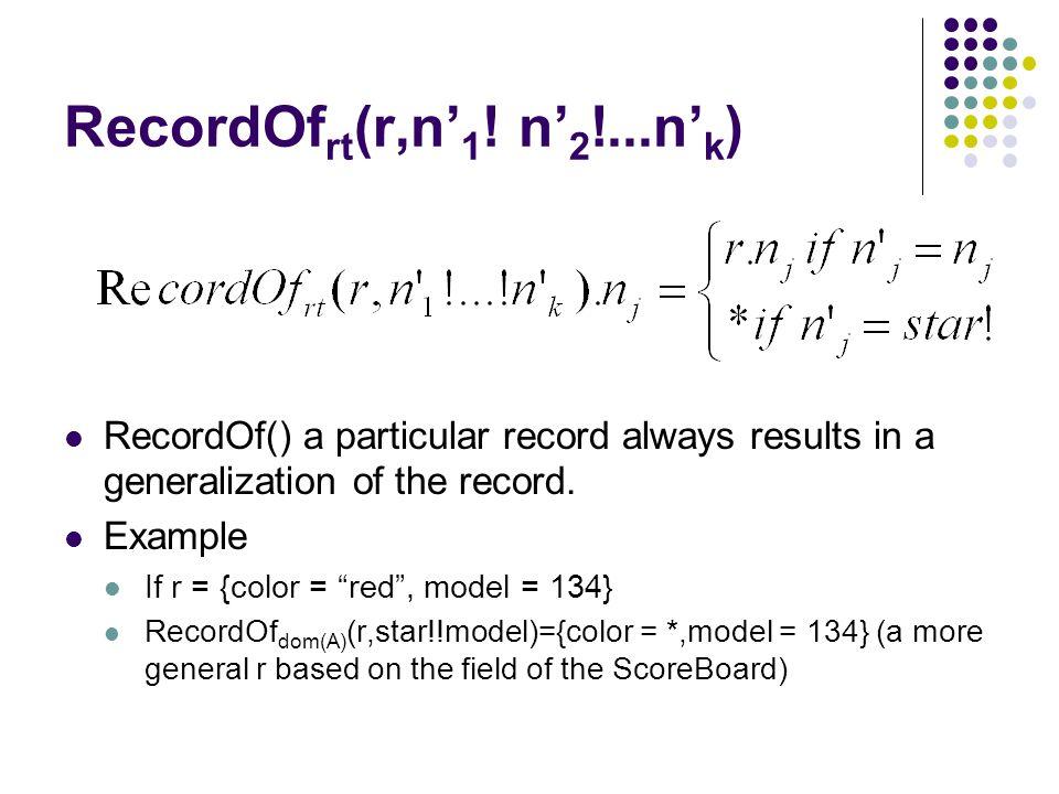 RecordOf rt (r,n' 1 .