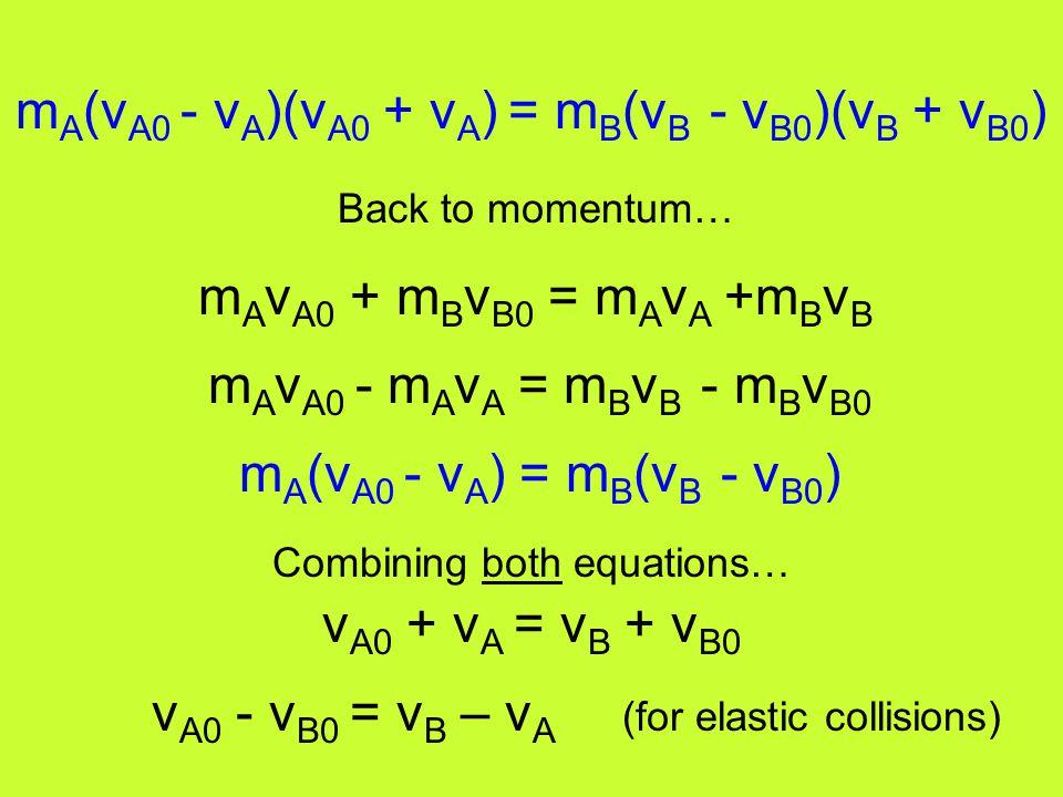 m A v A0 + m B v B0 = m A v A +m B v B m A v A0 - m A v A = m B v B - m B v B0 m A (v A0 - v A ) = m B (v B - v B0 ) v A0 + v A = v B + v B0 v A0 - v