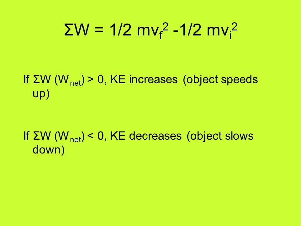 ΣW = 1/2 mv f 2 -1/2 mv i 2 If ΣW (W net ) > 0, KE increases (object speeds up) If ΣW (W net ) < 0, KE decreases (object slows down)