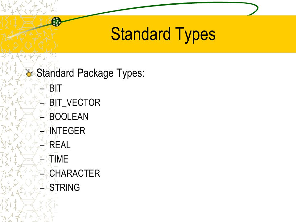Standard Types Standard Package Types: –BIT –BIT_VECTOR –BOOLEAN –INTEGER –REAL –TIME –CHARACTER –STRING