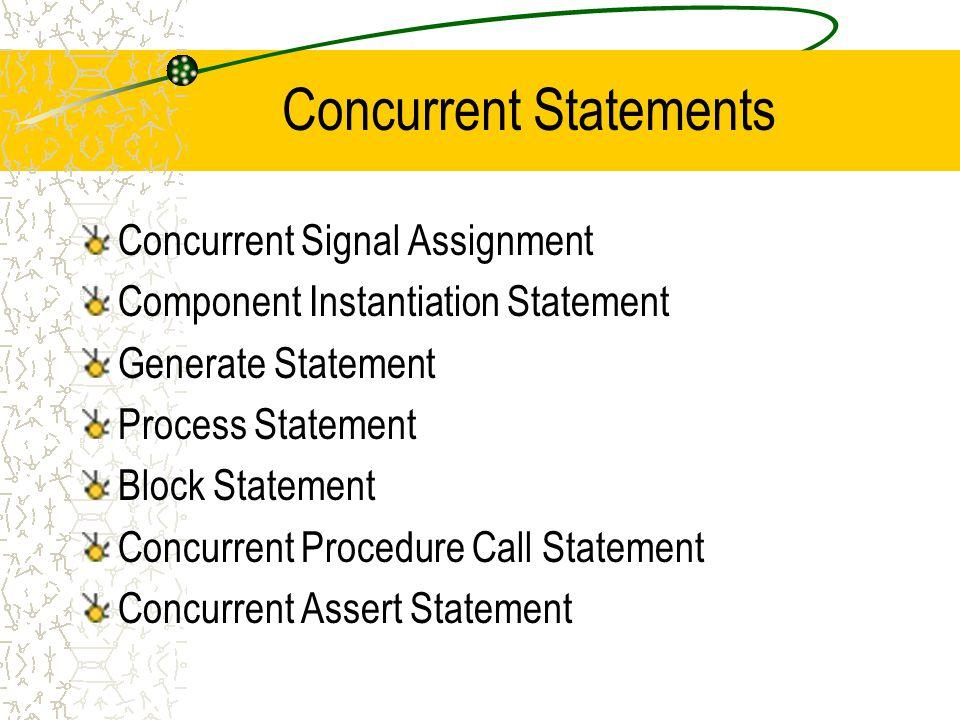 Concurrent Statements Concurrent Signal Assignment Component Instantiation Statement Generate Statement Process Statement Block Statement Concurrent Procedure Call Statement Concurrent Assert Statement