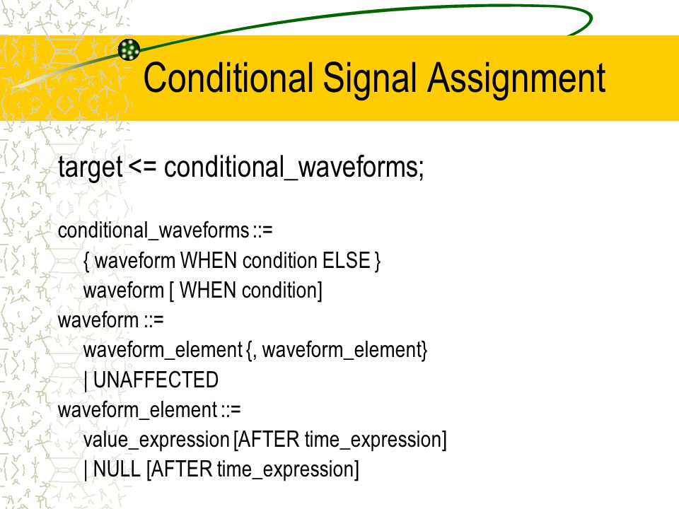 Conditional Signal Assignment target <= conditional_waveforms; conditional_waveforms ::= { waveform WHEN condition ELSE } waveform [ WHEN condition] waveform ::= waveform_element {, waveform_element} | UNAFFECTED waveform_element ::= value_expression [AFTER time_expression] | NULL [AFTER time_expression]