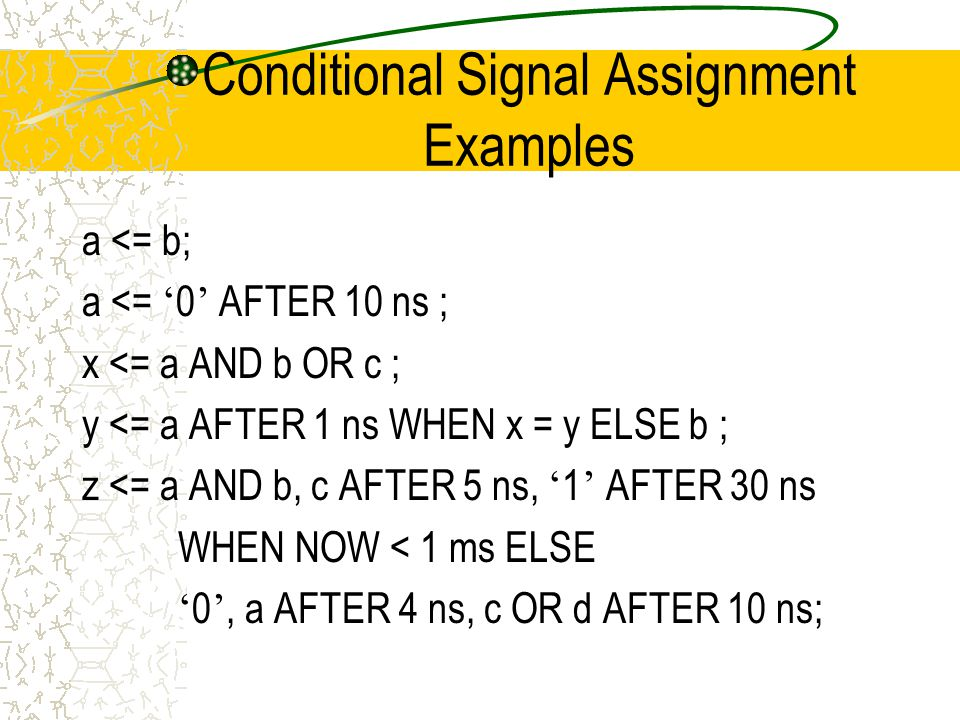 Conditional Signal Assignment Examples a <= b; a <= ' 0 ' AFTER 10 ns ; x <= a AND b OR c ; y <= a AFTER 1 ns WHEN x = y ELSE b ; z <= a AND b, c AFTER 5 ns, ' 1 ' AFTER 30 ns WHEN NOW < 1 ms ELSE ' 0 ', a AFTER 4 ns, c OR d AFTER 10 ns;