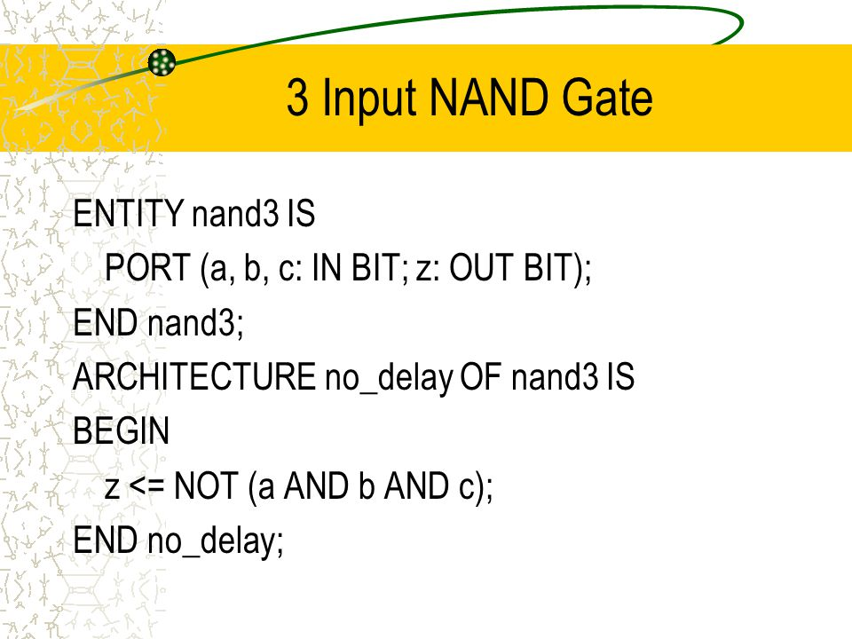 3 Input NAND Gate ENTITY nand3 IS PORT (a, b, c: IN BIT; z: OUT BIT); END nand3; ARCHITECTURE no_delay OF nand3 IS BEGIN z <= NOT (a AND b AND c); END no_delay;