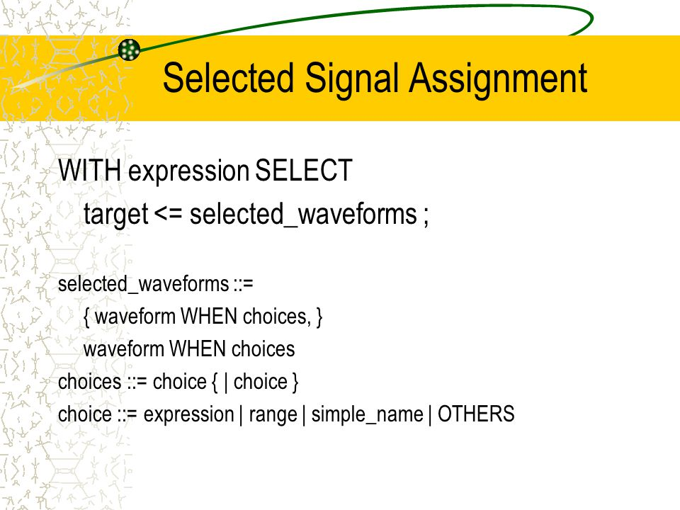 Selected Signal Assignment WITH expression SELECT target <= selected_waveforms ; selected_waveforms ::= { waveform WHEN choices, } waveform WHEN choices choices ::= choice { | choice } choice ::= expression | range | simple_name | OTHERS