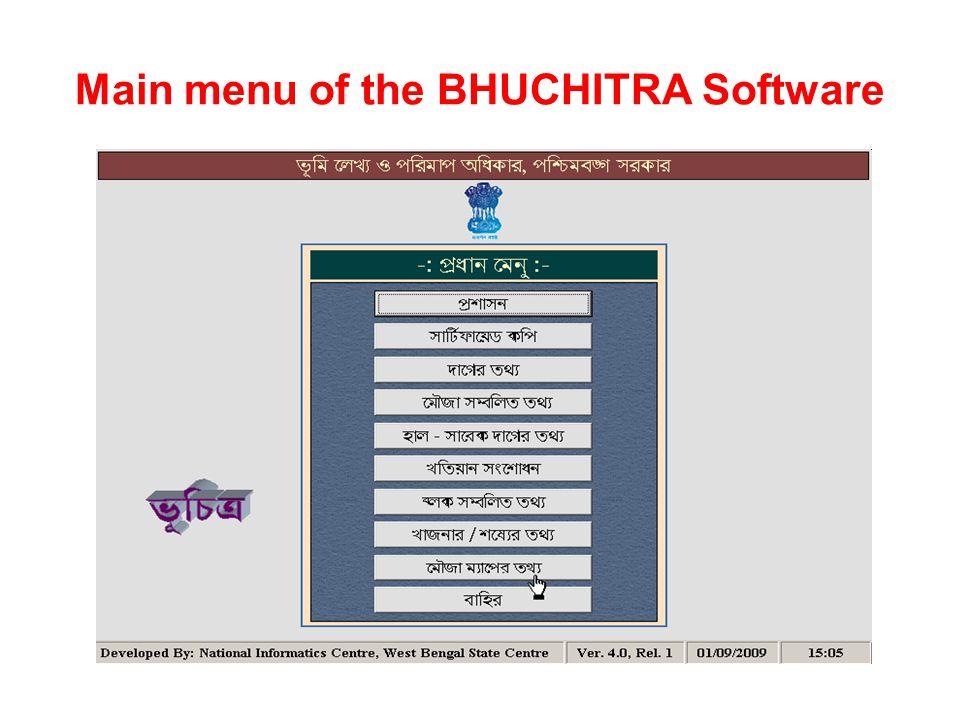 Main menu of the BHUCHITRA Software