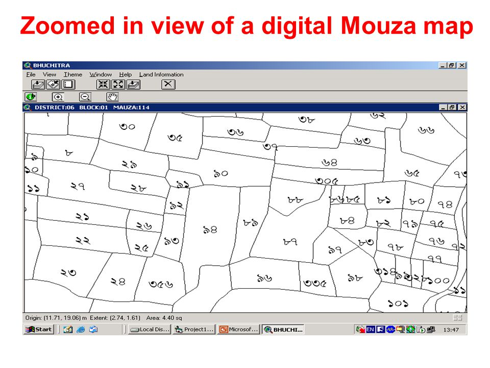 Zoomed in view of a digital Mouza map