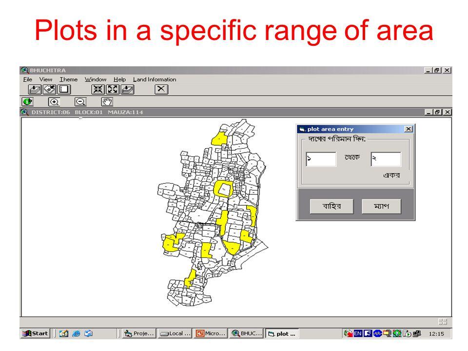 Plots in a specific range of area