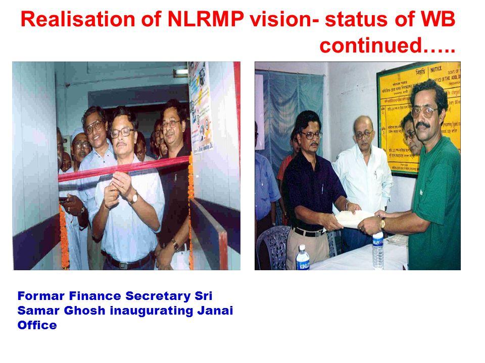 Realisation of NLRMP vision- status of WB continued….. Formar Finance Secretary Sri Samar Ghosh inaugurating Janai Office