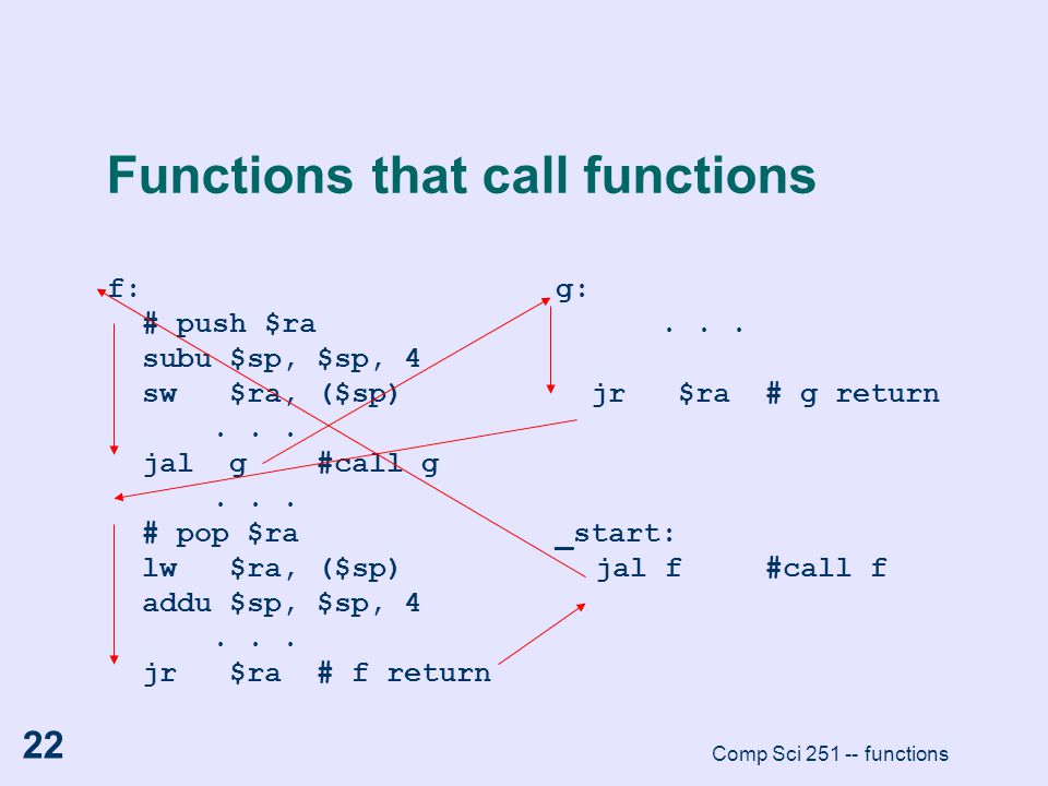 Comp Sci 251 -- functions 22 Functions that call functions f: # push $ra subu $sp, $sp, 4 sw $ra, ($sp)... jal g#call g... # pop $ra lw $ra, ($sp) add