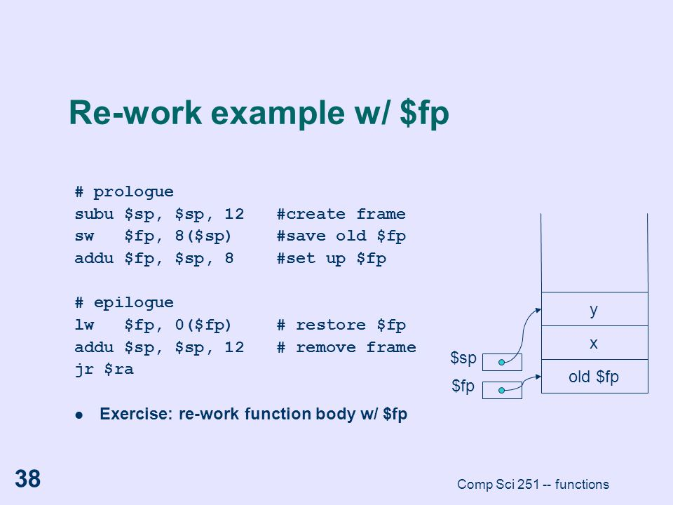 Comp Sci 251 -- functions 38 Re-work example w/ $fp # prologue subu $sp, $sp, 12#create frame sw $fp, 8($sp)#save old $fp addu $fp, $sp, 8#set up $fp