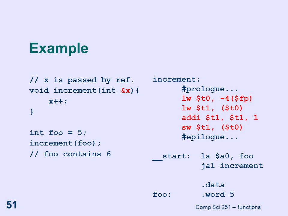 Comp Sci 251 -- functions 51 Example // x is passed by ref. void increment(int &x){ x++; } int foo = 5; increment(foo); // foo contains 6 increment: #