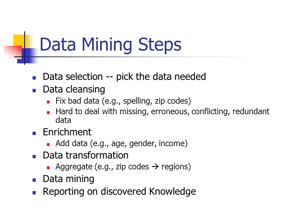 Data Mining Steps Data selection -- pick the data needed Data cleansing Fix bad data (e.g., spelling, zip codes) Hard to deal with missing, erroneous, conflicting, redundant data Enrichment Add data (e.g., age, gender, income) Data transformation Aggregate (e.g., zip codes  regions) Data mining Reporting on discovered Knowledge