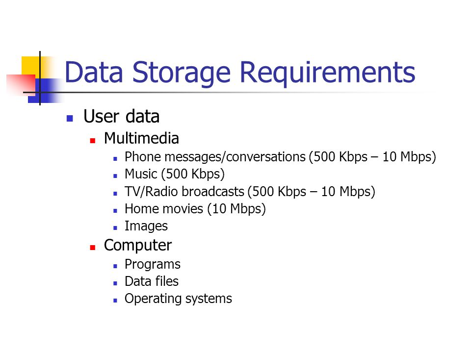 Data Storage Requirements User data Multimedia Phone messages/conversations (500 Kbps – 10 Mbps) Music (500 Kbps) TV/Radio broadcasts (500 Kbps – 10 Mbps) Home movies (10 Mbps) Images Computer Programs Data files Operating systems