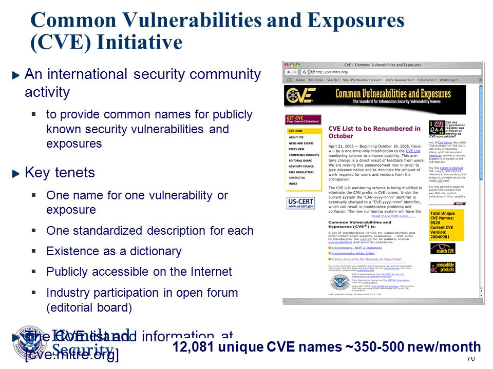 70 Common Vulnerabilities and Exposures (CVE) Initiative An international security community activity  to provide common names for publicly known sec